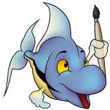Pesci blu come pittore Immagine Stock