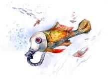 Pesci con la maschera antigas (serie C) Fotografia Stock Libera da Diritti