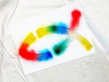 Pesci cristiani airbrushed - Rainbow fotografie stock