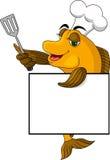 Pesci del cuoco del fumetto con il segno in bianco Fotografia Stock Libera da Diritti
