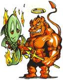 Pesci del diavolo su fuoco. Fotografie Stock