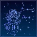 Pesci del segno dello zodiaco come bella ragazza La costellazione dei pesci Cielo notturno horoscope astrologia Vettore illustrazione di stock