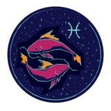 Pesci del segno dello zodiaco sul fondo stellato del cielo di notte Immagine Stock Libera da Diritti
