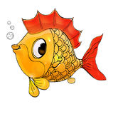 Pesci dell'oro Carattere sveglio del ` s dei bambini Isolato su priorità bassa bianca Immagini Stock Libere da Diritti