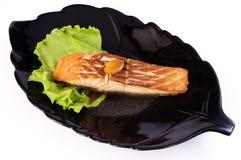 Pesci della griglia (halibut) Fotografie Stock