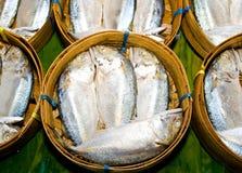 Pesci dello scombro in cestino di bambù Immagini Stock Libere da Diritti