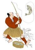 Pesci di cattura della trota di pesca giapponese del pescatore royalty illustrazione gratis