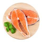 Pesci di colore rosso della bistecca di color salmone fotografia stock
