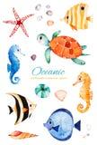 Pesci di corallo multicolori dipinti a mano subacquei ippocampo, tartaruga illustrazione vettoriale