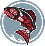 Pesci di salto - salmoni - nello stile dell'nativo americano Fotografia Stock Libera da Diritti