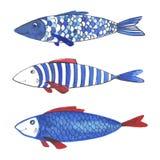 Pesci divertenti dell'acquerello Immagine Stock