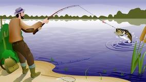 Pesci e pescatore Fotografia Stock Libera da Diritti