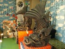 Pesci favolosi del dolphinlike del castello di Matsuyama Immagine Stock