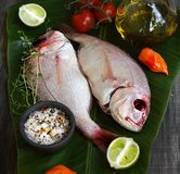 Pesci freschi con le verdure Fotografia Stock