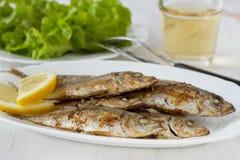 Pesci fritti con il limone Immagini Stock Libere da Diritti