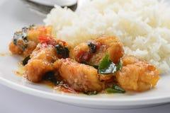 Pesci fritti con la salsa di peperoncini rossi Immagine Stock