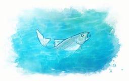 Pesci nell'acqua di mare Illustrazione di Stock