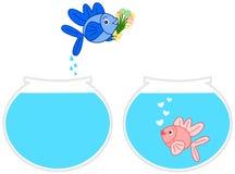 Pesci nell'illustrazione di salto del fumetto dell'acquario di amore Fotografia Stock Libera da Diritti