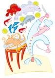 Pesci pazzi del briciolo del cuoco illustrazione vettoriale