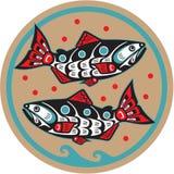 Pesci - salmoni - stile dell'nativo americano Fotografia Stock Libera da Diritti