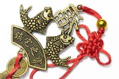Pesci simbolici cinesi con le monete 1 dell'annata fotografie stock libere da diritti