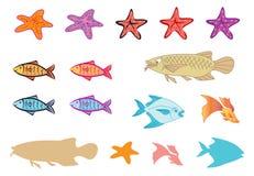 Pesci, stelle marine, silhoutte Fotografia Stock Libera da Diritti