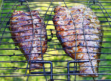 Pesci sulla griglia. Fotografia Stock Libera da Diritti