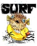 Pesci svegli del fumetto Testo disegnato a mano d'annata della spuma illustrazione dell'acquerello dell'animale di mare fondo di  Immagine Stock Libera da Diritti