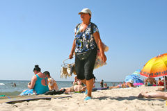 Pescivendolo alla spiaggia Fotografia Stock Libera da Diritti
