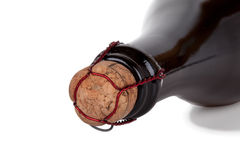 Pescoço da garrafa de Champagne no branco Fotografia de Stock Royalty Free