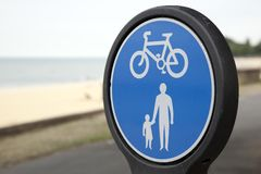 Pesdestrian and Cycle Lane Sign Royalty Free Stock Photos