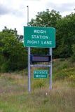 Pese o sinal da estação em 44 de um estado a outro que indicam a escala é clos fotografia de stock
