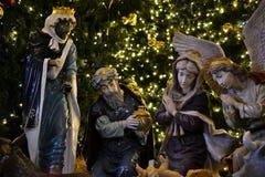 Pesebre en el cuadrado de la iglesia de la natividad en la Nochebuena en Belén, Cisjordania, Palestina, Israel fotografía de archivo libre de regalías