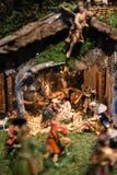 Pesebre tradicional de la Navidad Foto de archivo libre de regalías