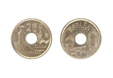 25 peset ukuwają nazwę, wydawali Hiszpania w 1997, Obrazy Royalty Free