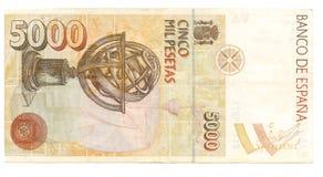 peseta Испания 5000 счетов стоковое фото rf
