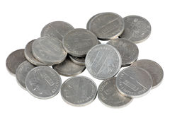 Peseta coin. Group of coins of a Spanish peseta trimmed and isolated Royalty Free Stock Images