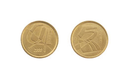 5 pesetas coin isolated on white background royalty free stock images