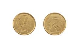 5 pesetas mynt som isoleras på vit bakgrund royaltyfria bilder