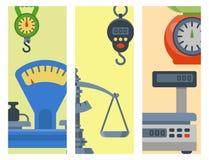 Pesez l'illustration de vecteur d'équipement d'outils d'équilibre de brochure d'instrumentation de mesure Photos libres de droits