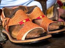 Peshawari Chapal traditionella skor Fotografering för Bildbyråer