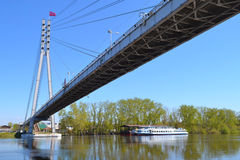 Peshekhodny Bridge and the ship Royalty Free Stock Photography