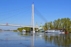 Peshekhodny Bridge and the ship Royalty Free Stock Image