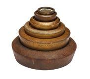 Pesi antichi della scala del metallo Fotografia Stock