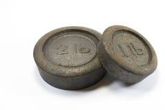 Pesi antichi 1lb e 2lb della cucina Immagini Stock