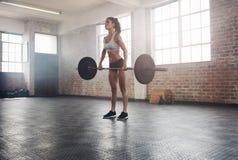 Pesi di sollevamento adatti dell'atleta femminile in palestra Fotografie Stock