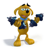 Pesi di sollevamento del cane marrone del fumetto Immagini Stock Libere da Diritti