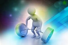 pesi di sollevamento dell'uomo 3D Fotografia Stock