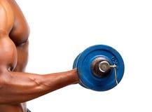 Peso de elevación del gimnasio del hombre afroamericano sano del músculo Fotos de archivo