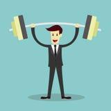 Peso de elevación del hombre de negocios, concepto del negocio del éxito Imágenes de archivo libres de regalías